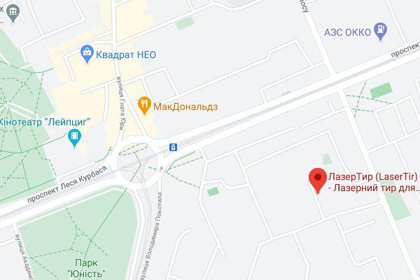 Карта Лазертир в Киеве